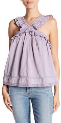 Melrose and Market Ruffle Trim Embroidered Sleeveless Blouse (Regular & Petite)