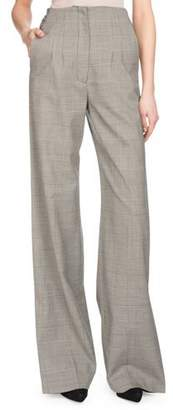 Proenza Schouler High-Waist Wide-Leg Plaid Wool Suiting Pants w/ Side Cuff Detail
