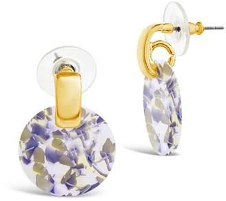 Sterling Forever Blue Iris Resin Circle Drop Stud Earrings