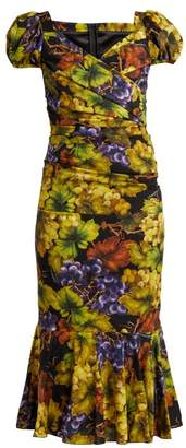 Dolce & Gabbana - Grape Print Ruched Silk Blend Dress - Womens - Black Multi