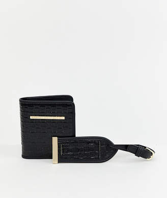 French Connection snakeskin passport and luggage tag gift set
