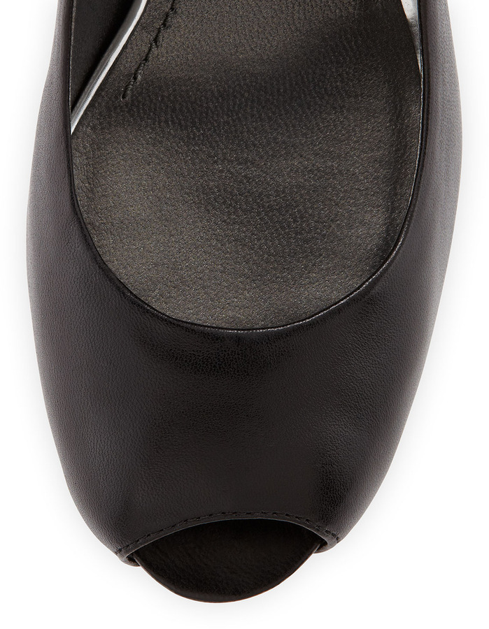 Stuart Weitzman Sierra Calf Leather Peep-Toe Pump, Black