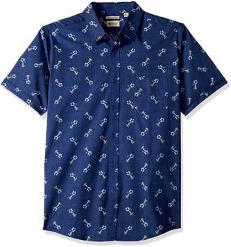 Haggar Men's Short Sleeve Micrographic Prints Woven Shirt