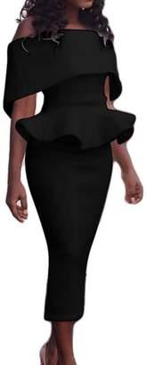 Oberora-Women Fashion Strapless Falbala Solid Color Bodycon Pencil Dress XL