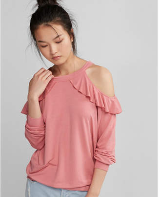 Express cold shoulder ruffle sweatshirt