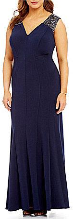 Alex EveningsAlex Evenings Plus Beaded-Shoulder Matte Jersey Gown