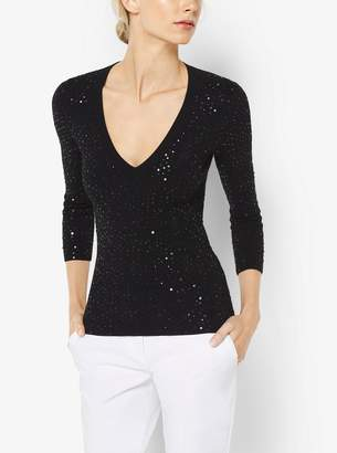Michael Kors Sequined V-Neck Pullover