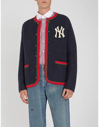 Gucci NY logo wool and alpaca-blend cardigan