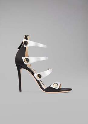 Giorgio Armani Heeled Satin Sandal With Tuxedo Buttons