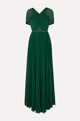 Self-Portrait Pleated Grosgrain-trimmed Chiffon Maxi Dress - Forest green