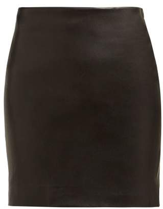 The Row Loattan Leather Mini Skirt - Womens - Black
