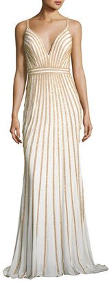 Jovani Sleeveless Beaded Evening Gown, White/Gold $540 thestylecure.com