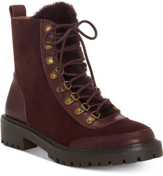 Lucky Brand Ilianna Lace-Up Faux Fur Hiker Boots Women Shoes