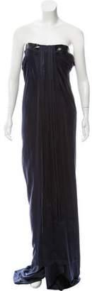 Balenciaga Leather-Trimmed Silk Dress