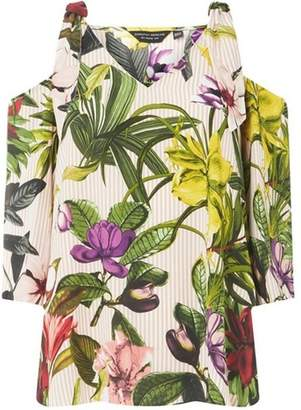 Dorothy Perkins Womens Multi-Coloured Stripe and Floral Print Cold Shoulder Top