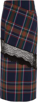 Prabal Gurung Plaid Lace-Detailed Cady Midi Skirt