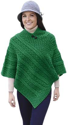 Carraigdonn Carraig Donn Ladies Merino Wool Plaited Poncho Sweater