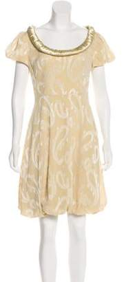Fendi Satin-Trimmed Linen Dress
