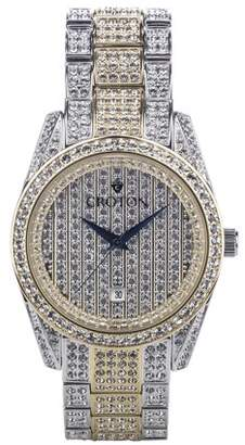 Croton Men's Two Tone Crystal Watch with Date and Blue Metallic Hands
