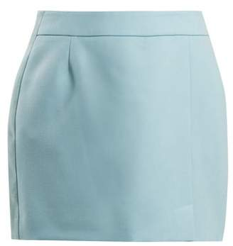 Bella Freud Alexa Wool Crepe Mini Skirt - Womens - Light Blue