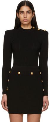 Balmain Black Buttoned Knit Sweater