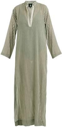 SU Kika Mandarin-collar striped kaftan