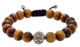 Lord & Taylor Round Tiger Eye and Silver Bead Bracelet
