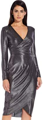 Adrianna Papell Foiled Jersey Wrap Dress