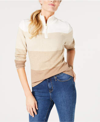 Karen Scott Cotton Quarter-Zip Striped Top