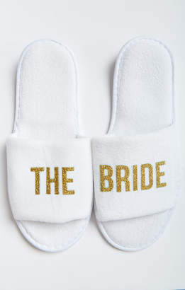 Show Me Your Mumu The Bride Slippers ~ White/Gold