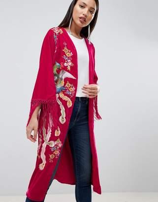 Asos Design DESIGN Velvet Embroidered Fringe Kimono
