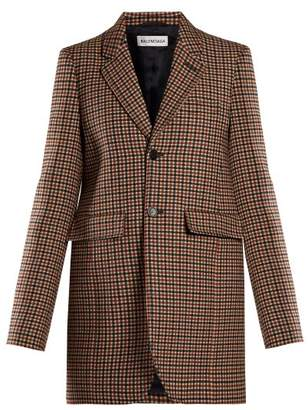 Balenciaga Single Breasted Wool Blend Tweed Jacket - Womens - Light Brown