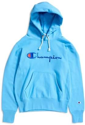 Champion Reverse Weave Script Logo Hooded Sweatshirt Blue