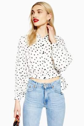 Topshop Womens Spot Jacquard Cropped Shirt - Ivory