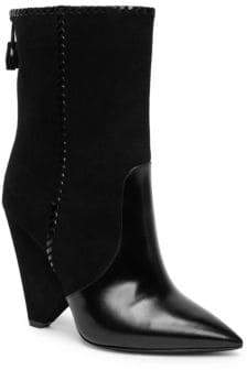 Saint Laurent Niki Whipstitch Suede & Leather Point Toe Booties
