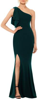 Betsy & Adam Bow One-Shoulder Gown