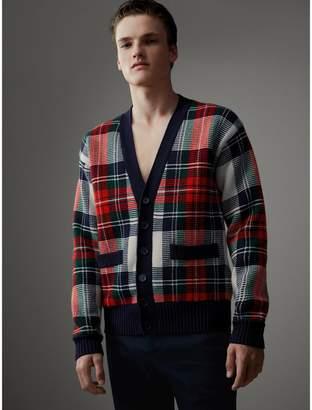 Burberry Tartan Knitted Cashmere Wool Cardigan