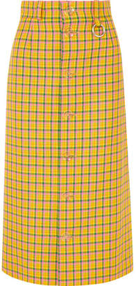 Balenciaga Checked Wool Midi Skirt - Yellow