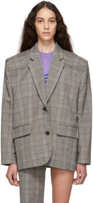 Pushbutton Grey Oversized Check Blazer