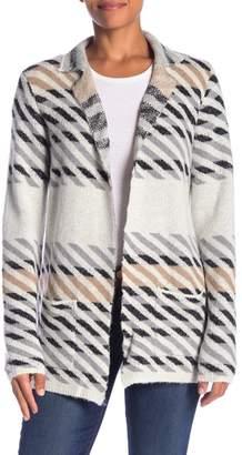 Joseph A Notch Lapel Variegated Striped Cardigan Coat