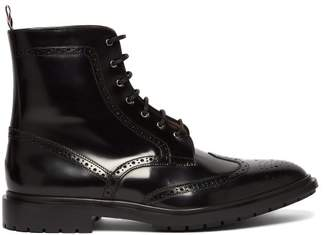 Thom Browne Wingtip Leather Boots - Mens - Black