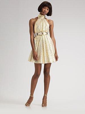 Alice + Olivia Metallic Turtleneck Dress