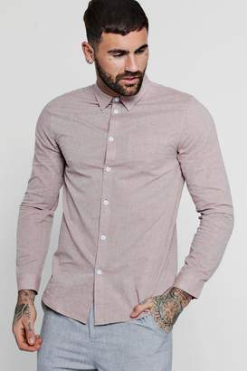boohoo Long Sleeve Nepp Oxford Shirt