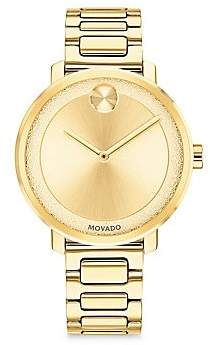 Movado Women's BOLD Frosted-Dial Light Gold Ion-Plated Stainless Steel Bracelet Watch