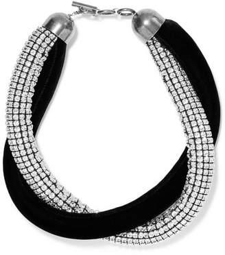 Saint Laurent 水晶、天鹅绒、镀银项圈式项链