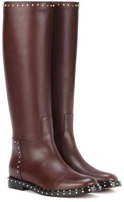 Valentino Rockstud leather knee-high boots