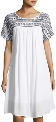 Neiman Marcus Embroidered Short-Sleeve Swing Dress, White/Black $85 thestylecure.com