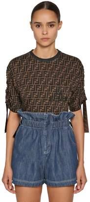Fendi Cropped Logo Print Cotton Jersey T-Shirt