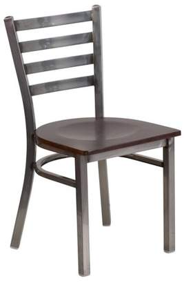 clear Flash Furniture HERCULES Series Coated Ladder Back Metal Restaurant Chair - Wood Seat Multiple Colors