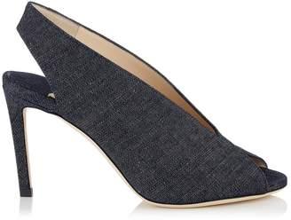 Jimmy Choo Shar 85 Denim Slingback Sandals